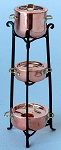Wrought Iron standing pot rack with 3 pots shown 48