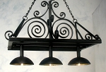 Wrought Iron Rectangle Hanging Pot Rack with 3 down lights 601-23