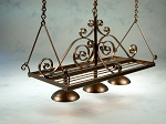 Wrought Iron Rectangle Pot Rack with 3 down lights 601