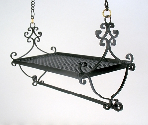 Wrought Iron Shield Design Hanging Pot Rack 59
