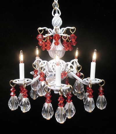 Jacqueline chandelier in white with red crystals